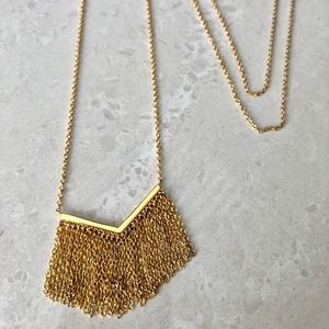 Gorjana long fringe gold necklace